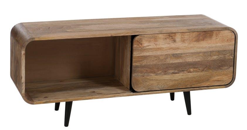 Meuble TV rétro bois naturel 1 porte coulissante 120x35x50cm