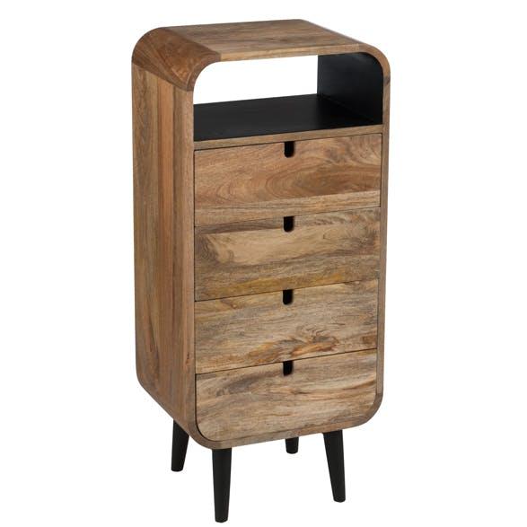 Chiffonnier rétro en bois naturel 4 tiroirs 40x30x90cm