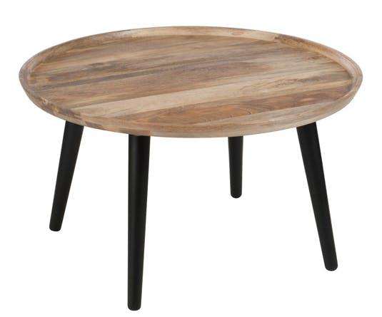 Table d'appoint ronde rétro bois naturel D80 H45cm