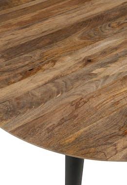 Table de repas rétro ronde en bois naturel et pieds noirs D120 H79cm