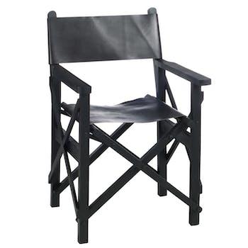 Chaise de régisseur pliante bois et cuir noir H88cm