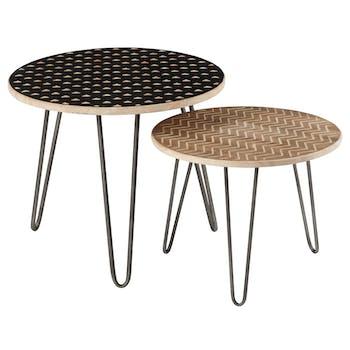 Lot de 2 tables gigogne chêne naturel et métal noir D61 H51cm