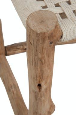 Tabouret en bois, assise macramé beige 40x40x52cm