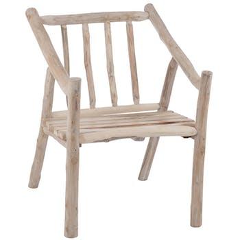 Chaise rustique en bois naturel 61x71x80cm