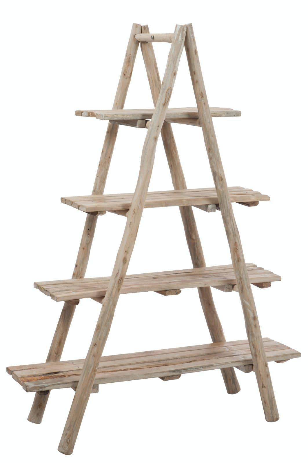 Etagère pyramide 4 planches en bois naturel 160x40x120cm