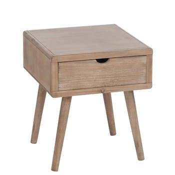 Table de chevet en bois, 1 tiroir 40x40x46cm