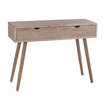 Console 2 tiroirs en bois naturel 100x35x75cm