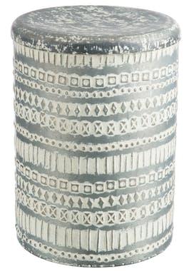 Tabouret rond en métal, motifs géométriques blancs et gris H41cm