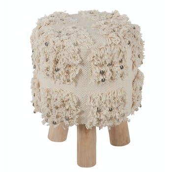 Tabouret coton blanc, aspect fourrure et sequins D30H40cm