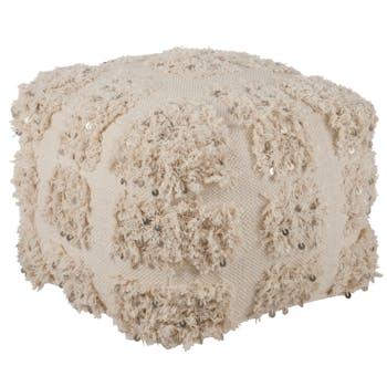 Pouf en coton blanc, aspect fourrure et sequins 45x45x35cm