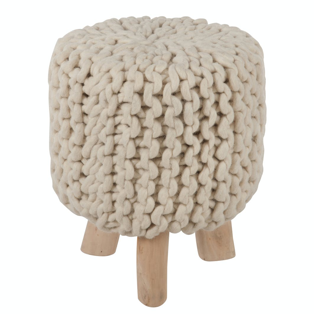 Pouf en laine blanche aspect tricot D30H40cm