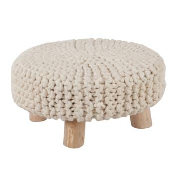 Pouf large, assise en laine blanche aspect tricoté D60H30cm