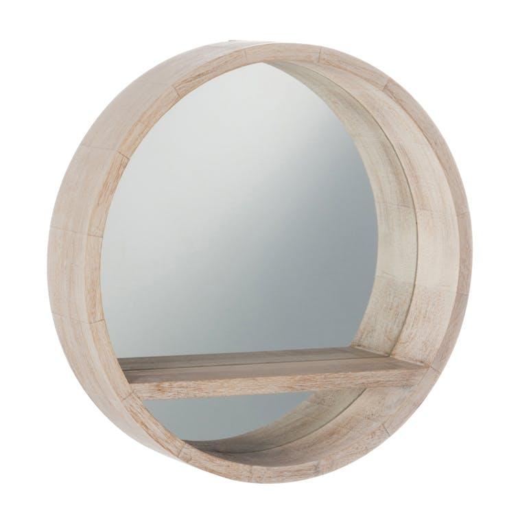 Miroir rond, contour et tablette en bois blanchi D50cm