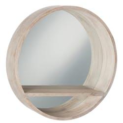 Miroir rond, contour et tablette en bois blanchi D70cm