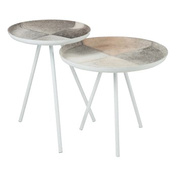Lot de 2 tables gigognes plateau en peau et pieds métal