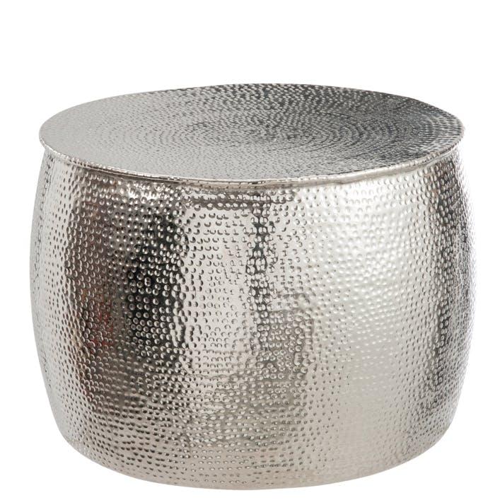 Bout de canapé rond, aluminium argenté en relief D41H30cm