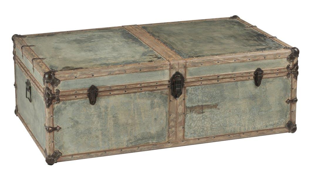 Table basse coffre en bois et métal argenté 120x70x40cm