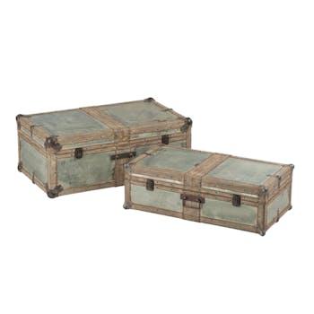 Lot de 2 coffres en bois et métal argenté 70x40x26cm