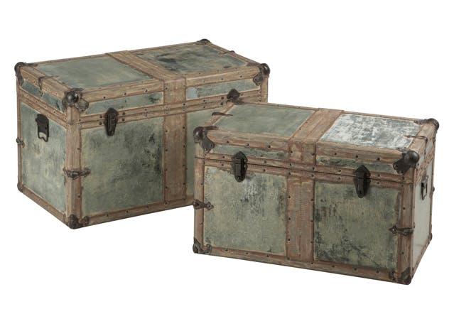 Lot de 2 coffres en bois et métal argenté 70x41x43cm