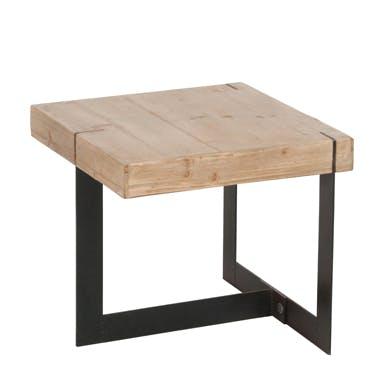 Bout de canapé en bois brut et pieds métal noir 50x50x45cm