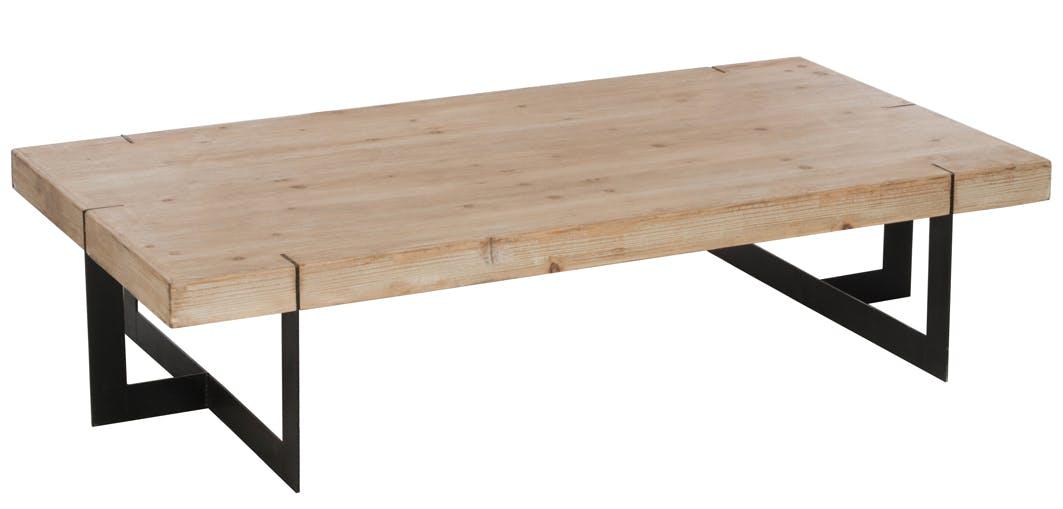 Table basse rectangle en bois brut et pieds métal noir 150x80x35cm