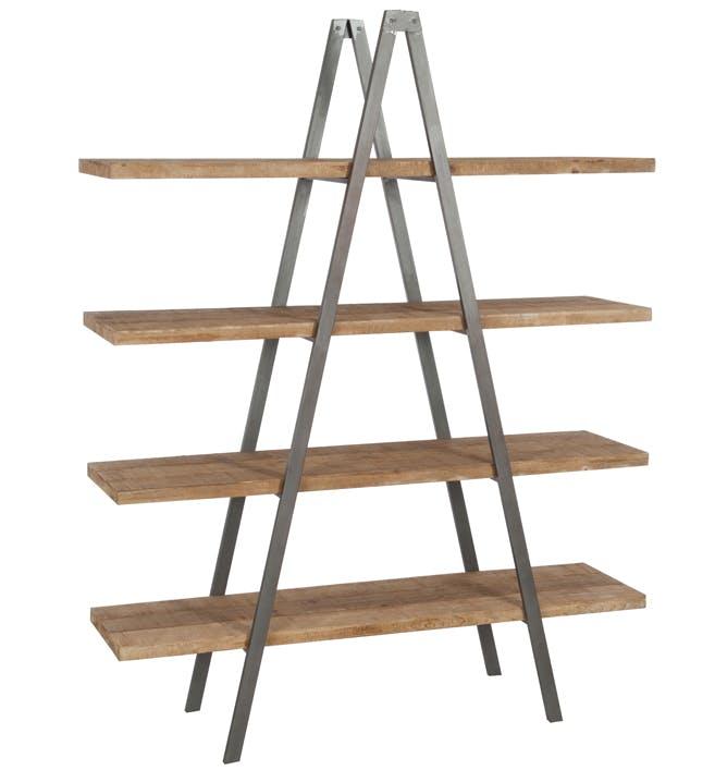 Etagère triangle 4 niveaux en bois naturel, armature métal 150x44x192cm