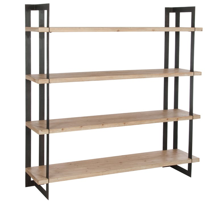 Etagère 4 niveaux en bois naturel, armature métal 180x41x180cm