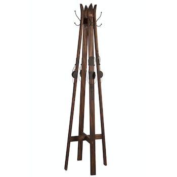 Porte-manteau 4 skis dressés en bois marron 48x48x175cm