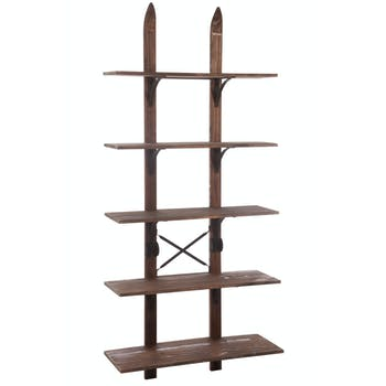 Etagère 5 niveaux en bois, armature déco skis H176cm