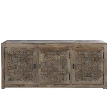 Buffet en bois naturel, 3 portes gravées 175x45x76cm