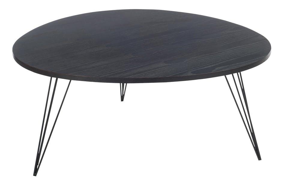Table basse rétro en bois noir pieds métal D90cm