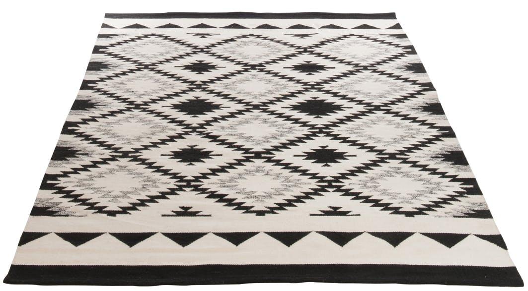 Tapis en coton motif ethnique noir et blanc 200x300cm