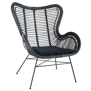 Fauteuil en rotin noir + coussin d'assise H90cm