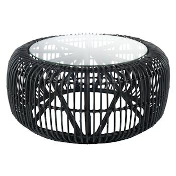 Table basse ronde en rotin noir, plateau verre D85cm