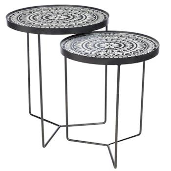 Table gigogne bois noir et blanc (lot de 2)