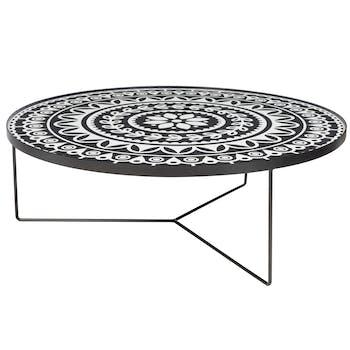 Table basse plateau bois motif noir et blanc D100cm