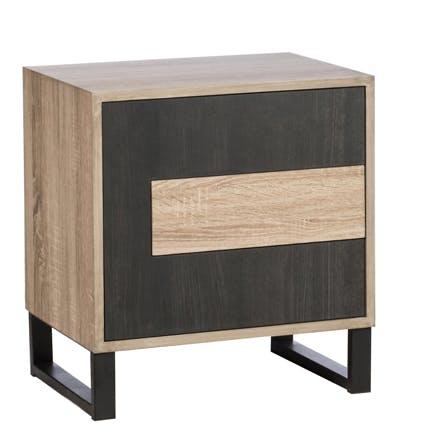 Table de chevet en bois noir 1 porte 1 tiroir