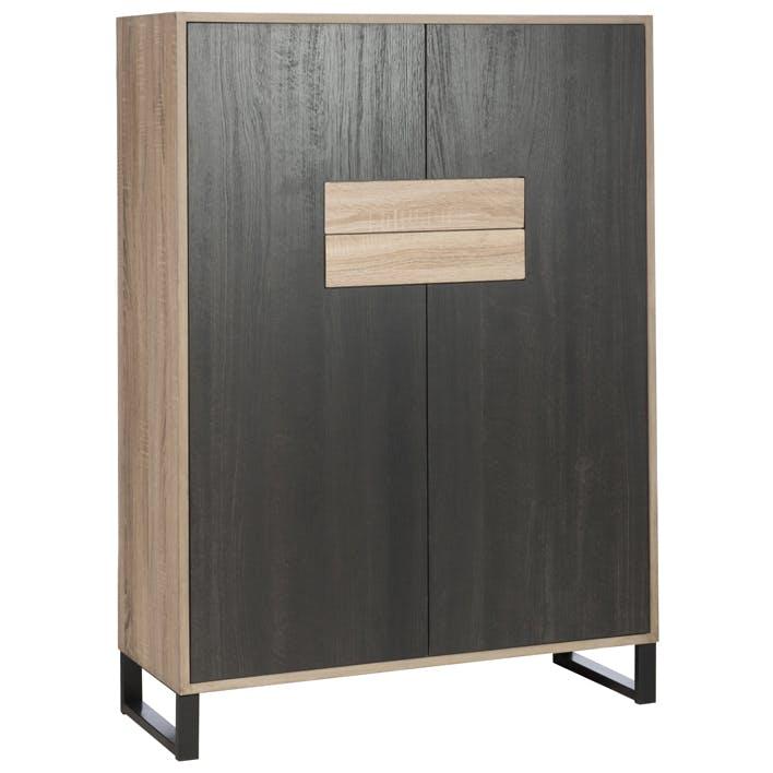 Bibliothèque en bois noir 2 portes 2 tiroirs H138cm