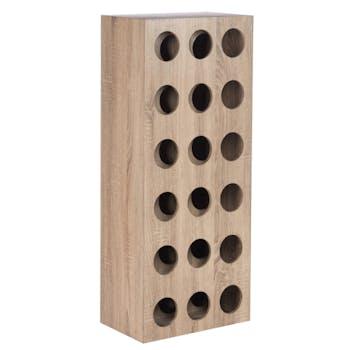 Etagère à vin 18 bouteilles bois naturel H110cm
