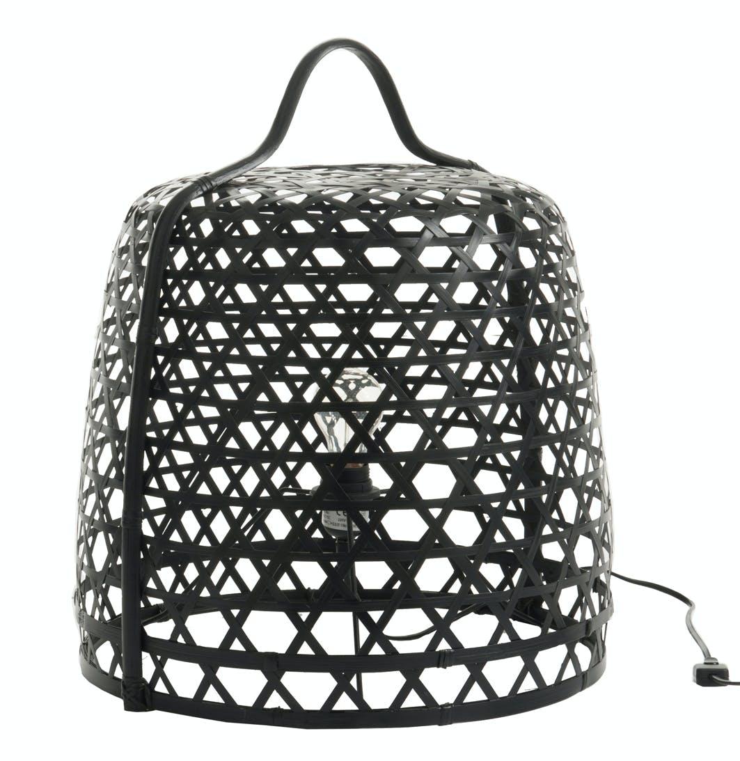 Lampe à poser ronde en bambou noir D45cm
