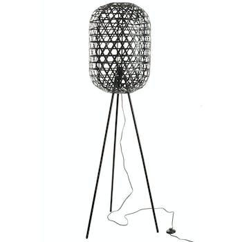 Lampadaire bambou noir, trépied métal H160cm