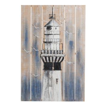 Tableau phare bord de mer bois réf. 30021933