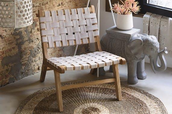 Chaise basse bois tissu tressé réf.30022514