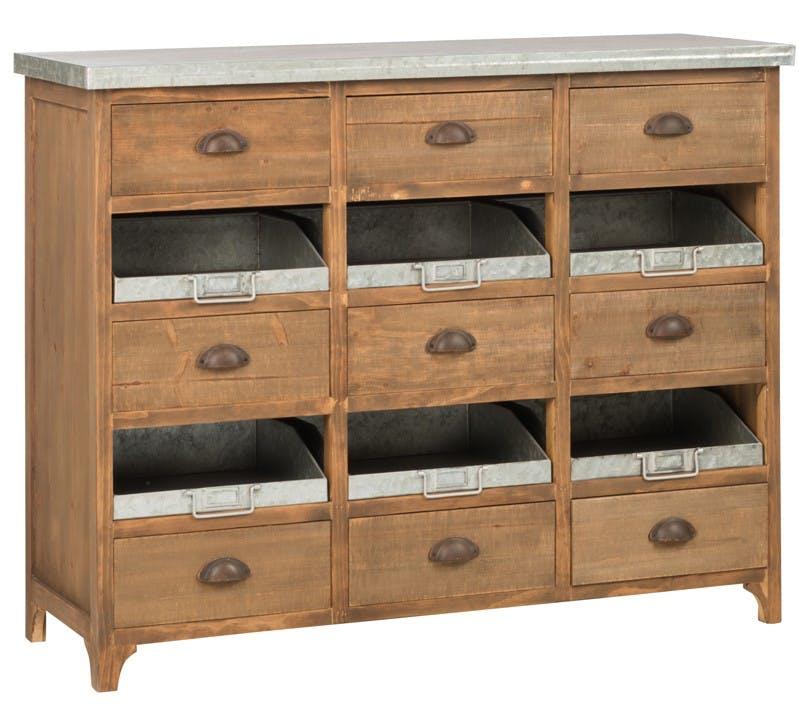 Commode vintage bois 9 tiroirs 6 caisses métal 115x41x90 cm ref.30022870