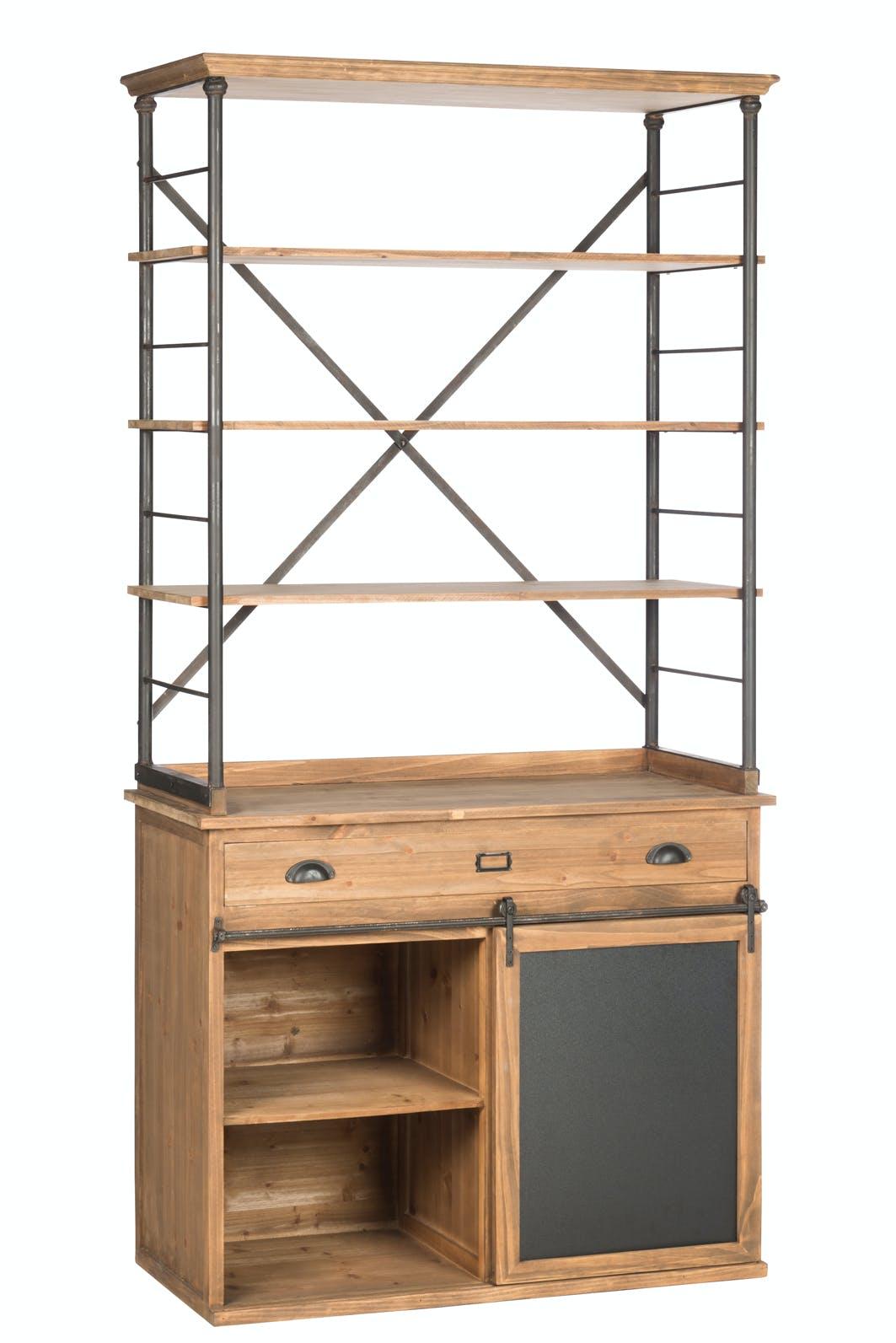 Bahut cuisine bois métal étagères et armoire 100x47x200 cm ref.30022871