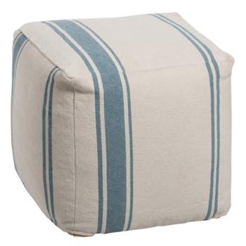 Pouf carré rayé blanc bleu 45x45x40 cm ref.30022910