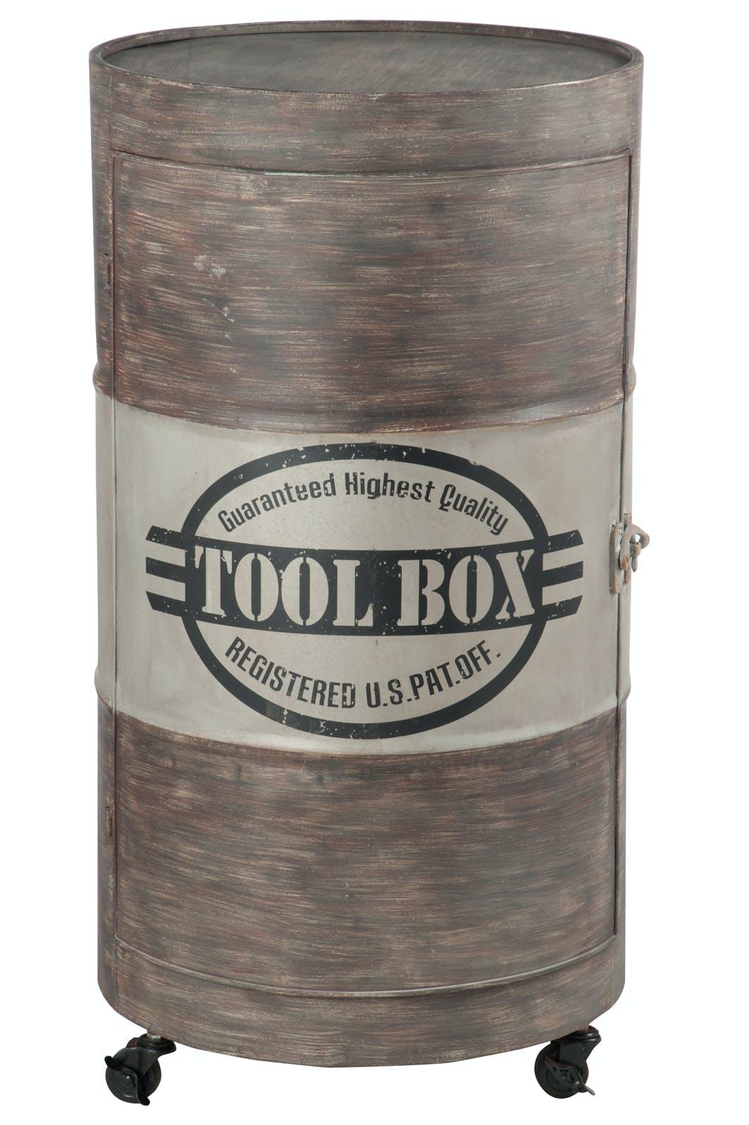Meuble de rangement sur roulettes style industriel 51x51x89 cm ref.30022916