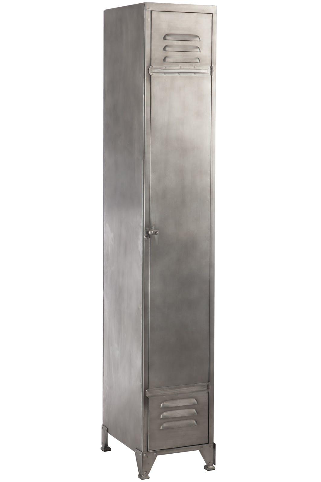 Armoire métallique 3 étagères gris clair 29x41x175 cm ref.30022917