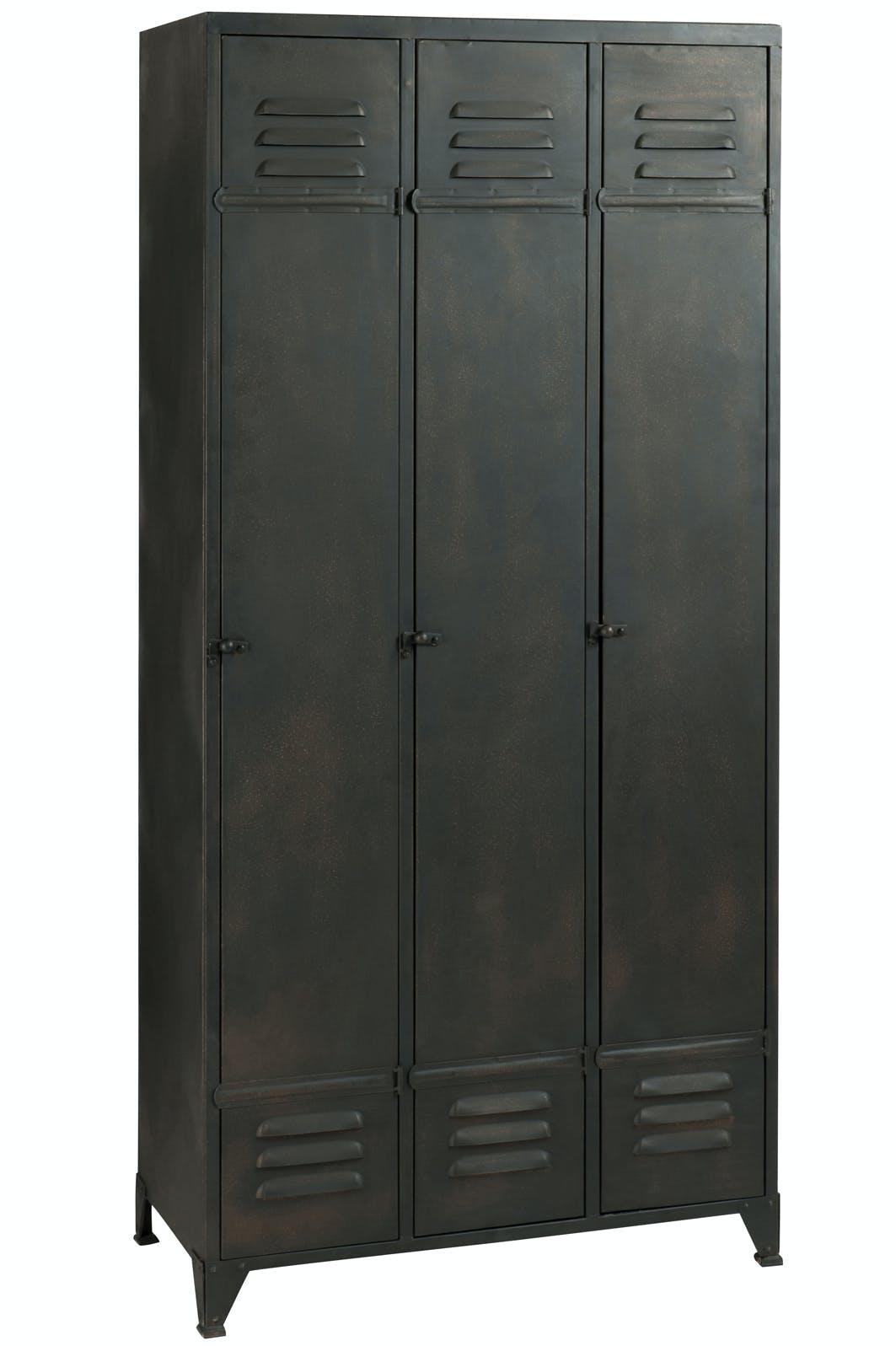 Meuble loft armoire 3 parties fer noir 84x43x174 cm ref.30022919