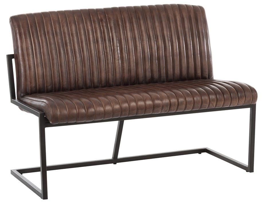 Banc cuir métal marron noir 122x65x86 cm ref.30022923